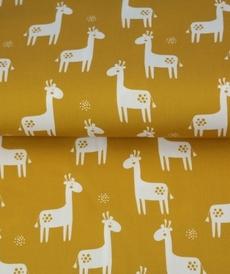 Tissu coton imprimé girafes fond ocre Stenzo (0.9€/10cm)