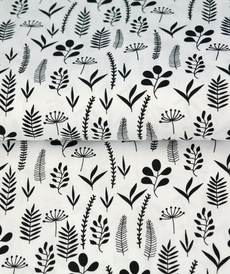 Tissu coton imprimé feuillages fond blanc Stenzo (0.9€/10cm)