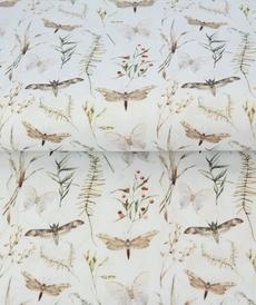 Tissu coton imprimé papillons libellules fond blanc Stenzo (0.9€/10cm)