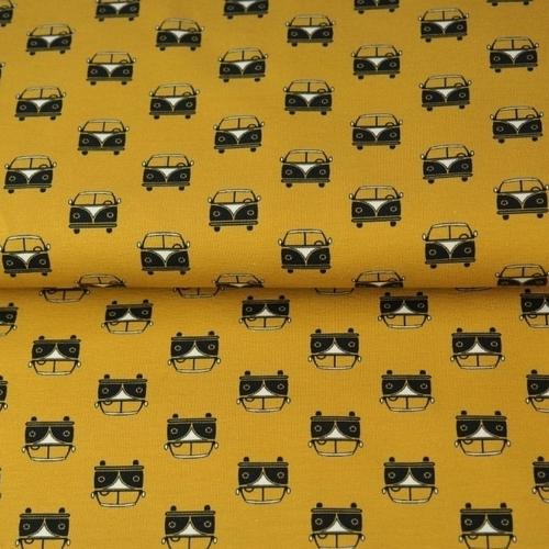 Tissu coton imprimé Van fond ocre Stenzo (0.9€/10cm)