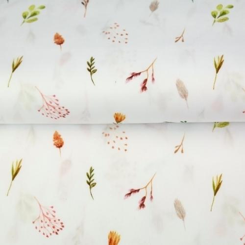 Tissu coton imprimé feuillages délicats fond blanc Stenzo (0.9€/10cm)