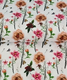 Tissu coton imprimé fleuri automnal fond blanc Stenzo (0.9€/10cm)