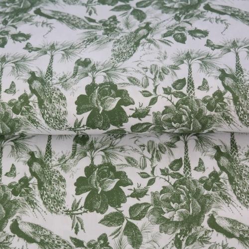 "Tissu coton imprimé fleuri "" style Jouy"" fond blanc Stenzo (0.9€/10cm)"