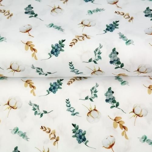 Tissu coton imprimé boules de coton fond blanc Stenzo (0.9€/10cm)