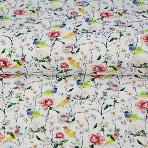 Tissu coton imprimé petites roses et oiseaux fond blanc Stenzo (0.9€/10cm)