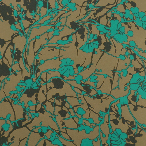 "Tissu crêpe fluide imprimé ""flower forest"" kaki (10cm/2.3€)"