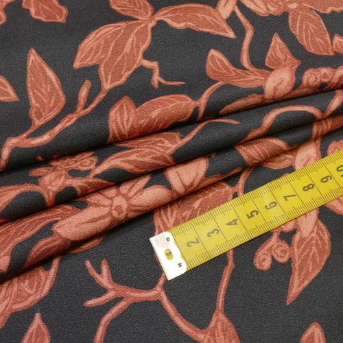 "Tissu crêpe de viscose ""rusty lines"" (10cm/2.3€)"