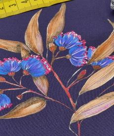 "Tissu fluide viscose violine"" flower eco"" (10cm/2.6€)"