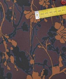 """Tissu crêpe fluide imprimé """"flower forest"""" prune (10cm/2.3€)"""