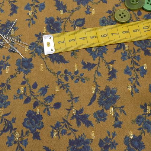 "Tissu fluide viscose ""plumetti flowers"" olive (10cm/2.5€)"