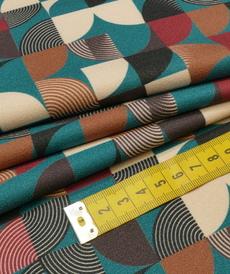 Tissu crêpe fluide imprimé rétro A la ville by bittoun (10cm/2.45€)