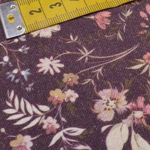 Tissu coton viscose imprimé fleuri prune A la Ville by Bittoun (10cm/2.71€)