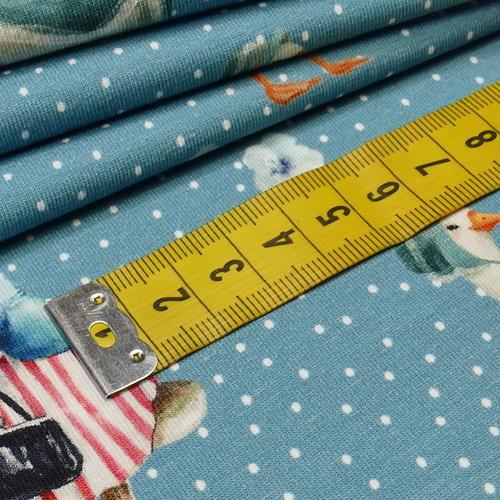 """Jersey de coton bleu jeans """"oies et lapins"""" by Stenzo (10cm/1.7€)"""
