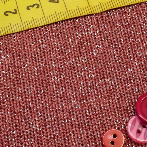 Maille tricotée brillante vieux rose ( 10cm/1.39€)