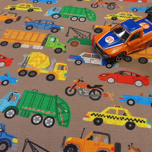"""Jersey de coton taupe """"truck"""" by Stenzo (10cm/1.7€)"""