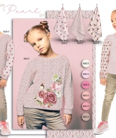 """Jersey sweat bouclettes """"perles"""" rose tendre by Stenzo (10cm/1.95€)"""