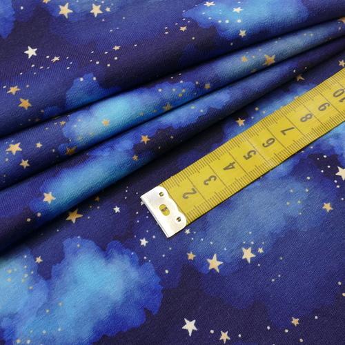 """Jersey sweat bouclettes """"ciel étoilé"""" bleu by Stenzo (10cm/1.95€)"""