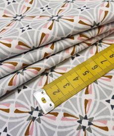"Tissu cretonne imprimé rétro ""Capucine"" gris/cuir ( 10cm/0.85€)"