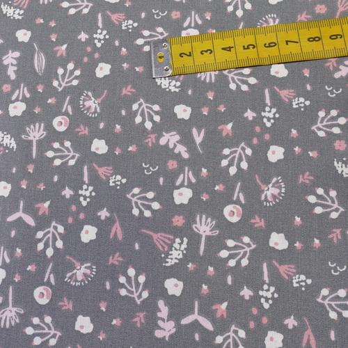 "Tissu cretonne imprimé fleuri ""April"" gris rose ( 10cm/0.85€)"