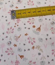 "Tissu cretonne imprimé fleuri ""Aponi"" fond blanc rose gris ( 10cm/0.85€)"