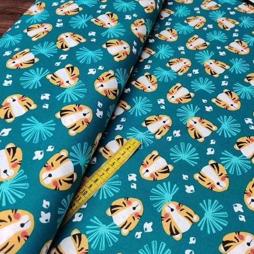"Tissu cretonne imprimé tigre "" Nehila"" émeraude safran ( 10cm/0.85€)"