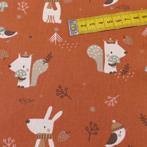 """Tissu cretonne imprimé """"woody"""" rouille ( 10cm/0.85€)"""