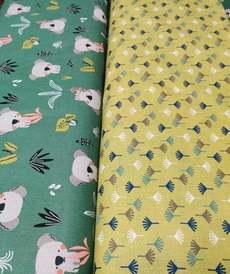 "Tissu cretonne imprimé ""kokoli"" vert clair ( 10cm/0.85€)"