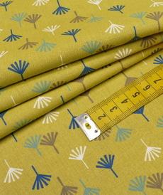 """Tissu cretonne imprimé """"TIKAMA"""" vert mousse ( 10cm/0.85€)"""