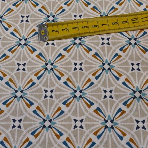 """Tissu cretonne imprimé rétro """"Capucine"""" grège clair/paon ( 10cm/0.85€)"""