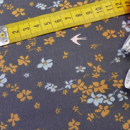 "Tissu cretonne imprimé ""Shima""  hirondelles anthracite ocre( 10cm/0.85€)"
