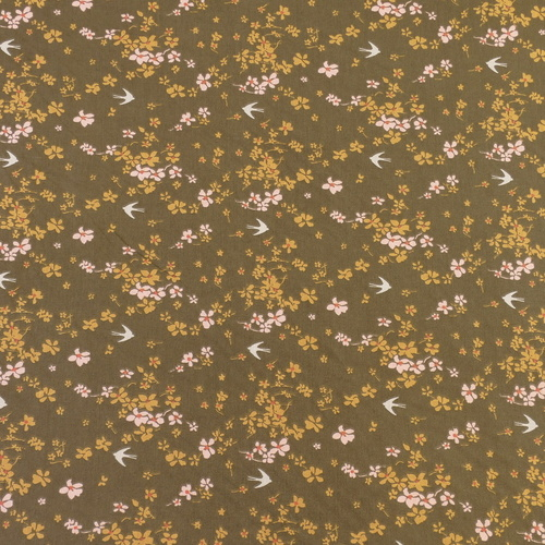 """Tissu cretonne imprimé """"Shima"""" hirondelles bronze ocre ( 10cm/0.85€)"""