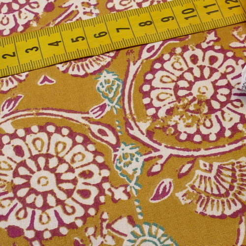 "Tissu cretonne imprimé rétro ""Jivanna"" moutarde amarante ( 10cm/0.85€)"