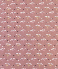 """Tissu cretonne imprimé """"Ombbe"""" rose ancien ( 10cm/0.85€)"""