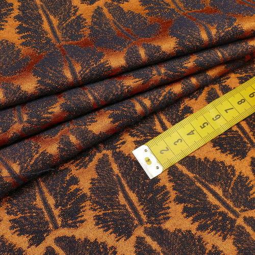 Tissu jacquard extensible feuillage fond cuivré ( 10cm/2.6€)