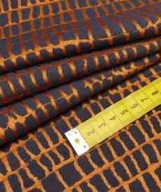 "Tissu jacquard extensible ""Irregular""  fond cuivré ( 10cm/2.6€)"