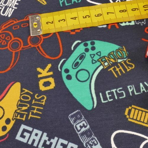 "Jersey sweat bouclettes ""Game"" marine /multi-couleurs (10cm/1.4€)"