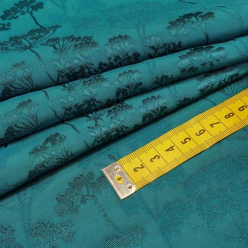 Tissu jacquard en viscose japonisante pétrole (10cm/2.6€)