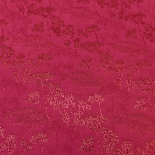 Tissu jacquard en viscose japonisante framboise (10cm/2.6€)
