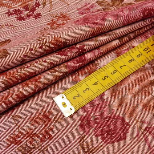 Coton chevron imprimé fleuri qualité GOTS (10cm/2.15€)