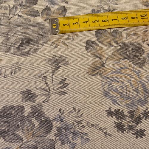 Coton chevron imprimé fleuri gris qualité GOTS (10cm/2.15€)