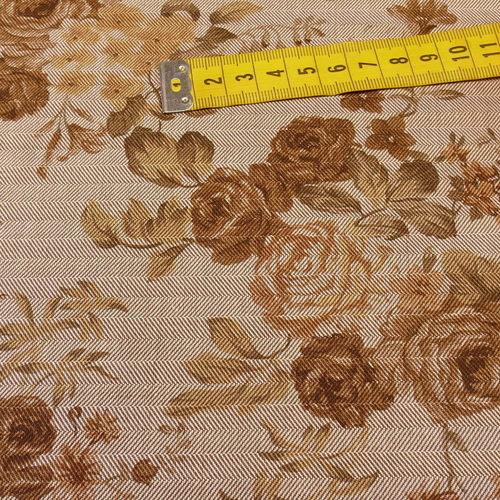Coton chevron imprimé fleuri taupe qualité GOTS (10cm/2.15€)