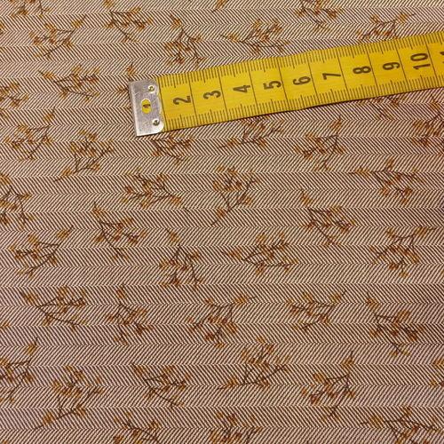 Coton chevron imprimé petites fleurs taupe qualité GOTS (10cm/2.15€)