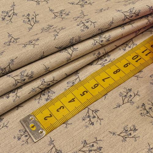 Coton chevron imprimé petites fleurs gris qualité GOTS (10cm/2.15€)