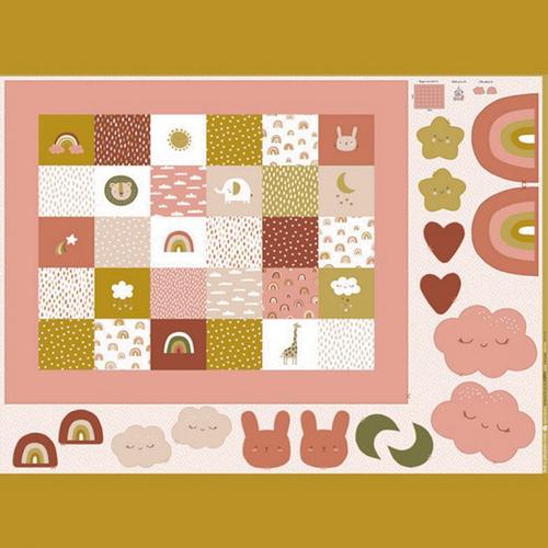 Panneau coton imprimé digital orangé/ocre