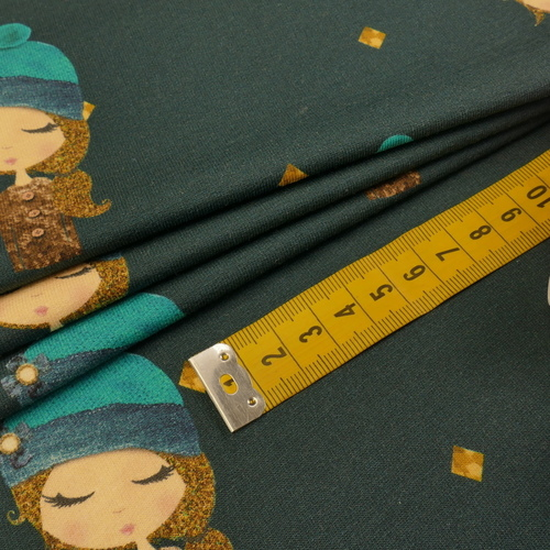 "Jersey sweat bouclettes ""fille"" pétrole by Stenzo (10cm/1.95€)"