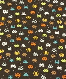 """Jersey de coton """"Pixel"""" fond noir GOTS (10cm/1.49€)"""