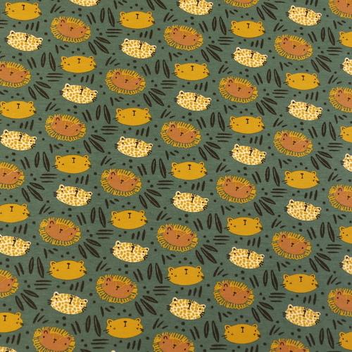 "Jersey de coton ""WILD"" fond vert foncé GOTS (10cm/1.49€)"