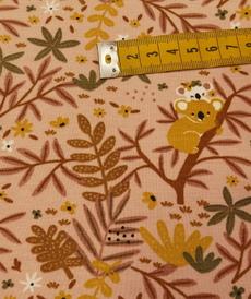 "Jersey de coton ""koala"" fond rose GOTS (10cm/1.49€)"