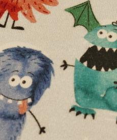 "Jersey de coton ""Monstres"" fond bleu ciel GOTS (10cm/1.55€)"
