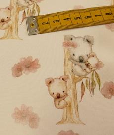 """Jersey de coton """"koala et roses"""" fond blanc GOTS (10cm/1.55€)"""
